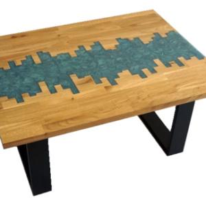 Epoxidharztisch mit Muster aus Brettschichtholz